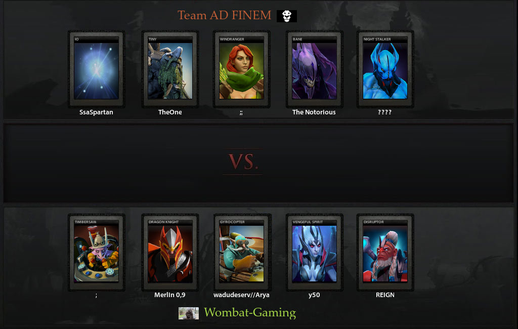 VODs for Wombat Gaming vs Ad Finem