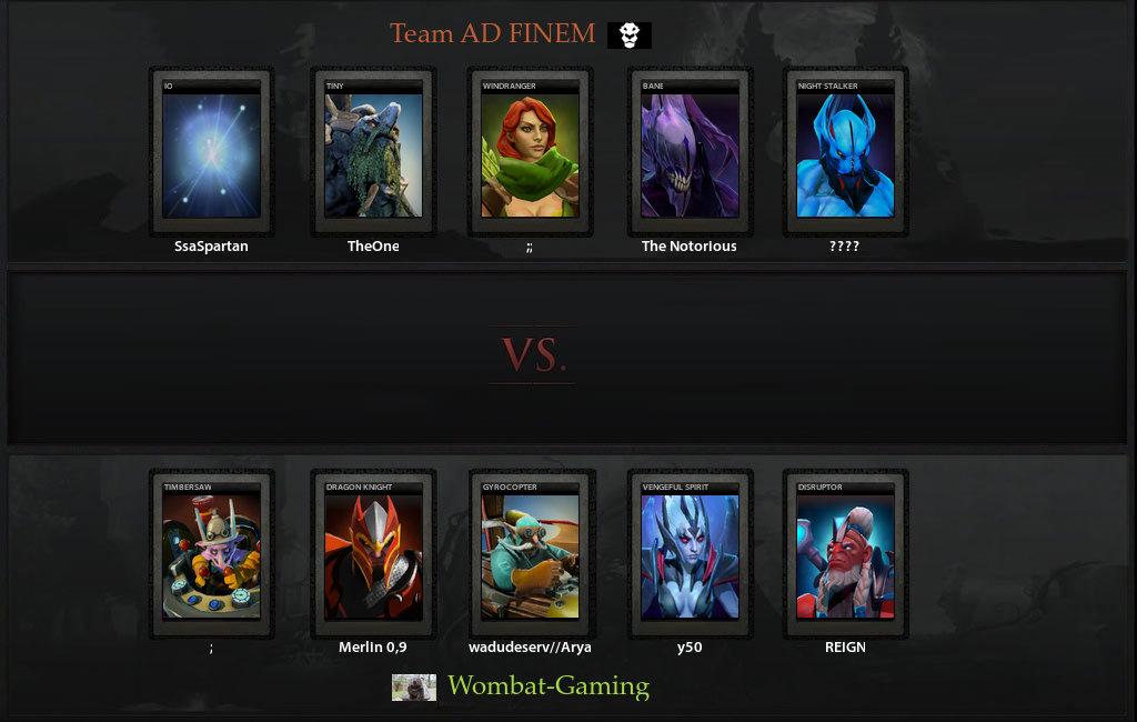 VODs for Wombat Gaming vs Ad Finem